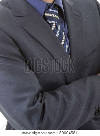 detail of a business man with blue tie