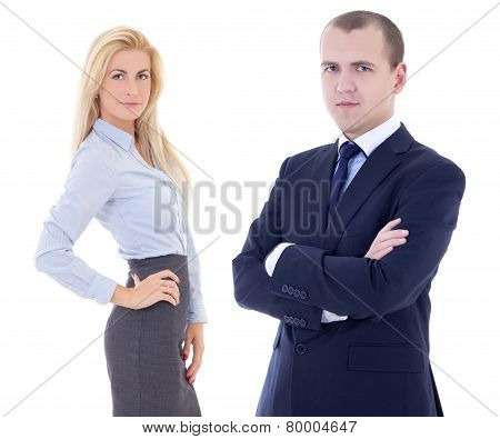 Young Handsome Man And Beautiful Blonde Woman In Business Suits Isolated On White