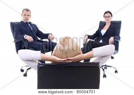 Conference Or Meeting In Office -three Young Business Persons Sitting On Office Chairs Isolated On W