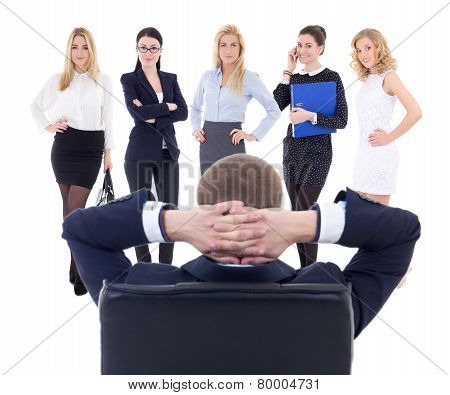 Business Man Choosing New Workers Isolated On White