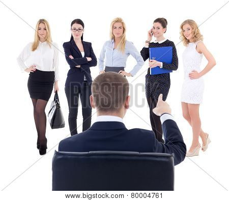 Back View Of Sitting Business Man Choosing New Secretary Or Assistant Isolated On White