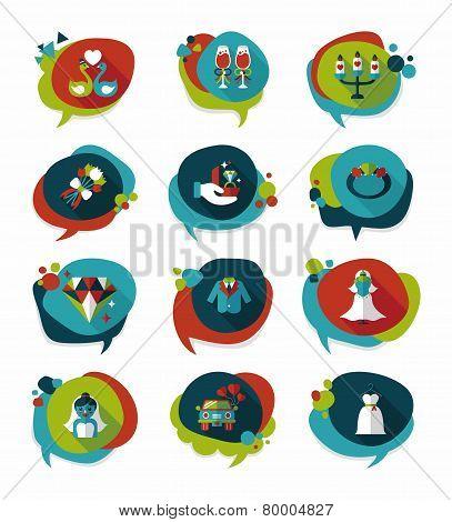 Wedding Speech Bubble Flat Design Background Set, Eps10