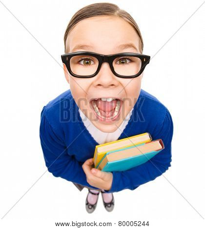 Funny little girl is holding books and screaming, fisheye portrait, isolated over white