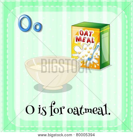 Illustration of an alphabet O is for oatmeal