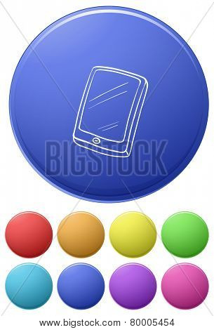 Small buttons and a big button with a cellphone on a white background