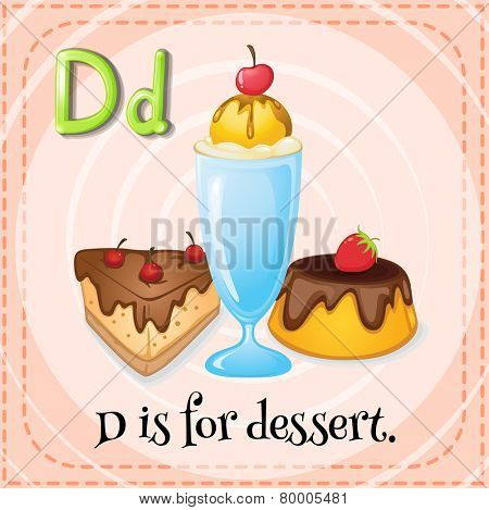Illustration of an alphabet D is for dessert