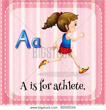 Illustration of an alphabet A is for athlete
