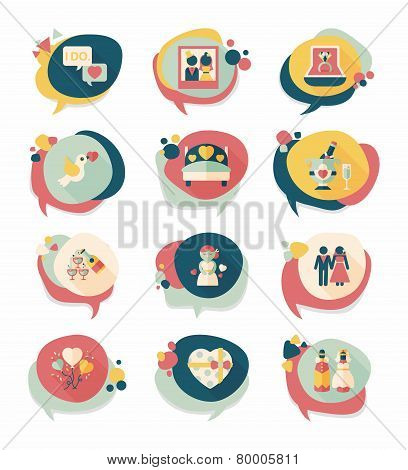 Wedding Speech Bubble Flat Design Background Set, Eps10