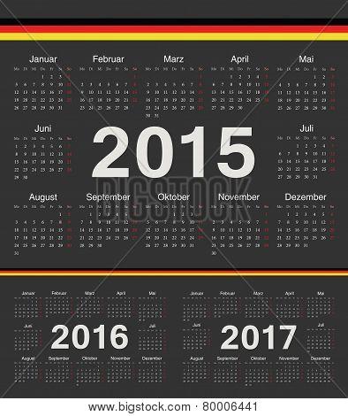 Vector Black German Circle Calendars 2015, 2016, 2017