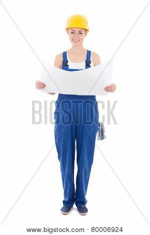 Woman Builder In Blue Coveralls Holding Building Plan Isolated On White