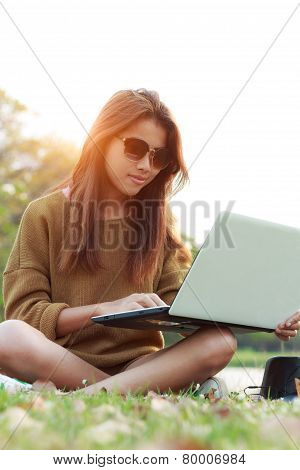 Girl Smile Use Laptop Notebook Computer Outdoor Modern Lifestyle
