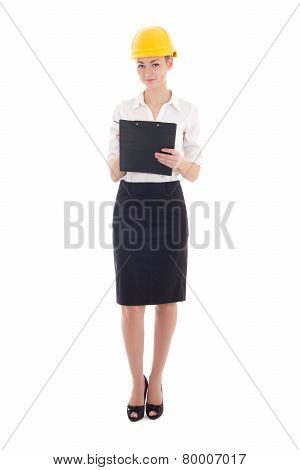 Young Beautiful Business Woman Architect In Builder Helmet With Clipboard Isolated On White