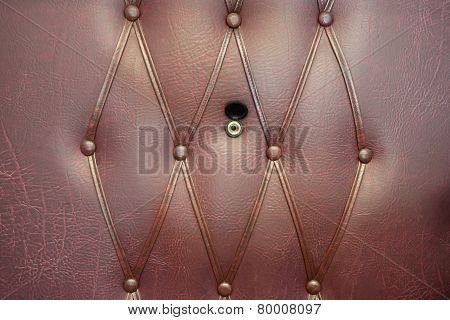 Brown Leather Door With Gold Peephole