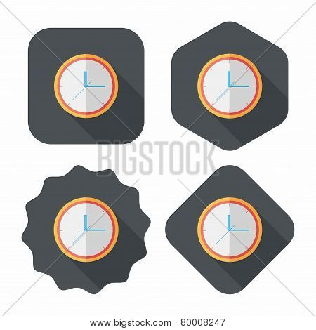 Clock Flat Icon With Long Shadow,eps10