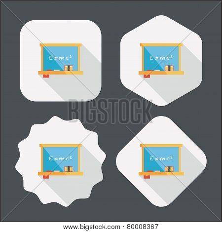 Chalkboard Flat Icon With Long Shadow,eps10