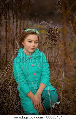 Photo of romantic girl in fairy forest