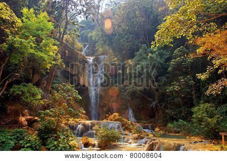 Waterfall in deep forest, Laos, Luang Prabang