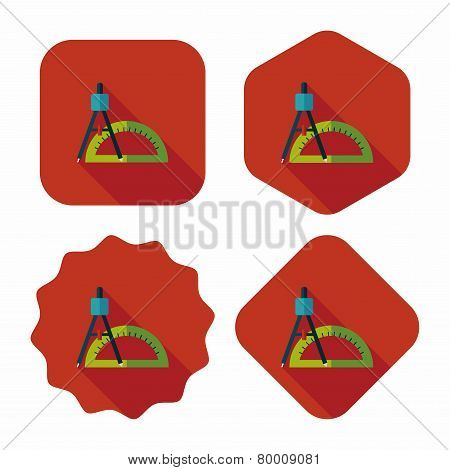 Rulers And Compass Flat Icon With Long Shadow,eps10