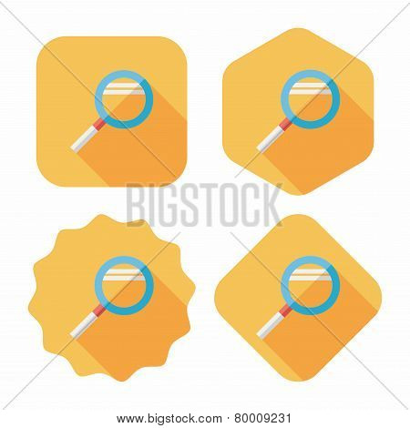 Magnifying Glass Flat Icon With Long Shadow