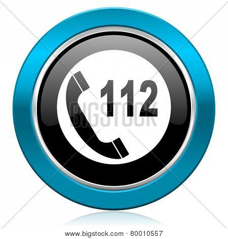 emergency call glossy icon 112 call sign