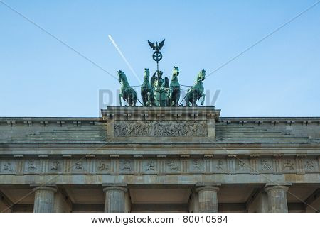 BERLIN, GERMANY - NOV 17, 2014: Detail quadriga on Brandenburg Gate (Brandenburger Tor) is a architectural monument in the heart of Berlin's Mitte district, was created in 1788-1791 years.