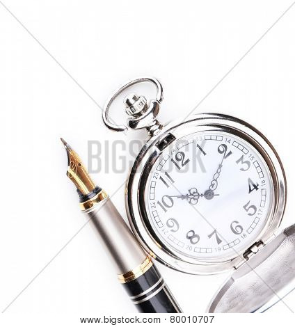 Silver pocket clock with pen isolated on white