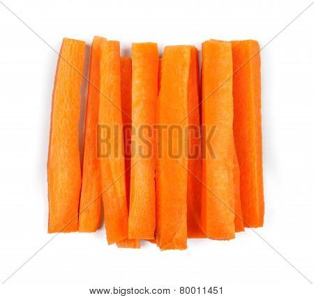 Slices Of Fresh Carrots On A White Background