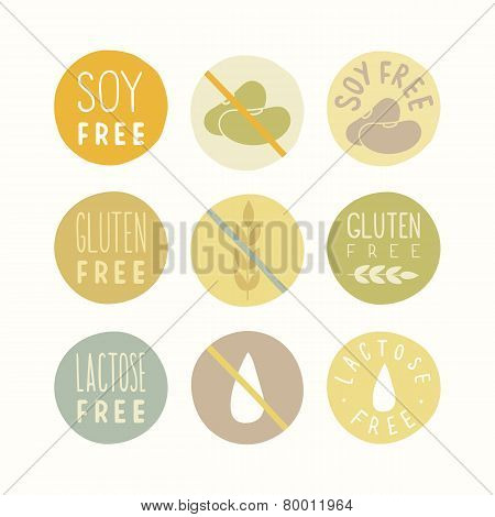 Soy, gluten, lactose free signs.