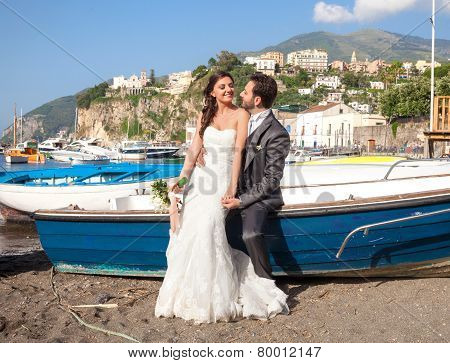Married Couple At The Beach In Sorrento Coast.