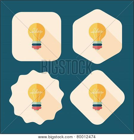 Light Bulb Flat Icon With Long Shadow,eps10