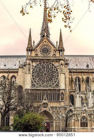 Paris. Notre Dame Cathedral. Vintage Effect