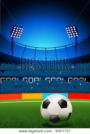 A football placed on a football stadium. Vector illustration. poster