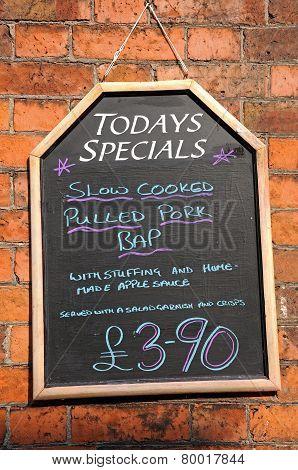 Todays Specials Chalkboard.