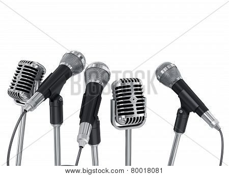 Conference Meeting Microphones Prepared For Talker. Isolated On White Background