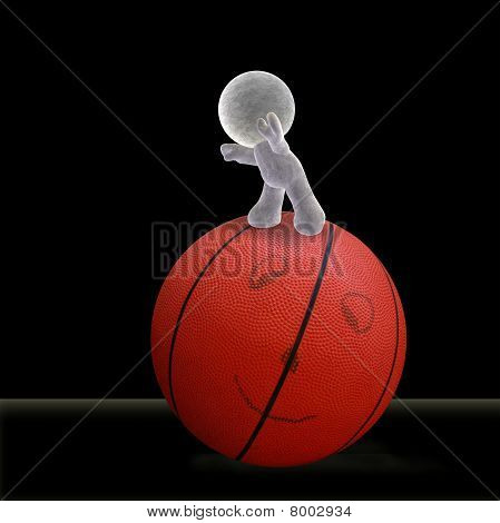 abstract cartoon of a soft man rolling a smiling basketball forward into the future - Illustration on black background