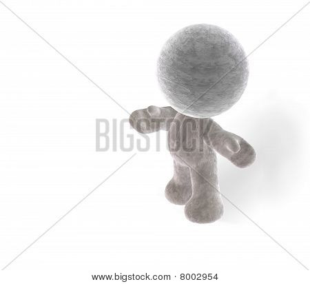 isolated little man presenting and shaking hands on white background