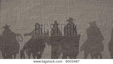 Mural of cowboys