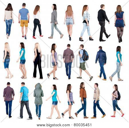 """collection """" back view of walking people """". going people in motion set.  backside view of person.  Rear view people collection. Isolated over white background. poster"""