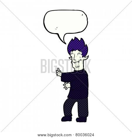cartoon excited vampire with speech bubble