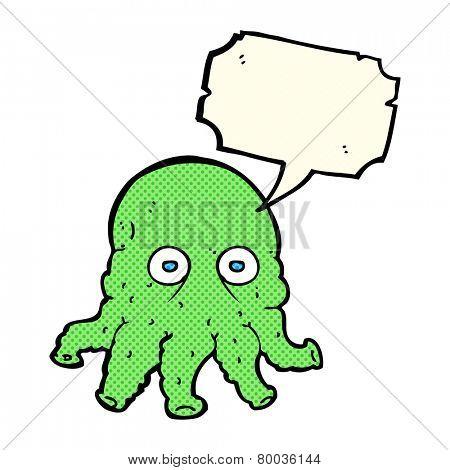 cartoon alien squid face with speech bubble