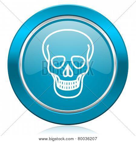 skull blue icon death sign