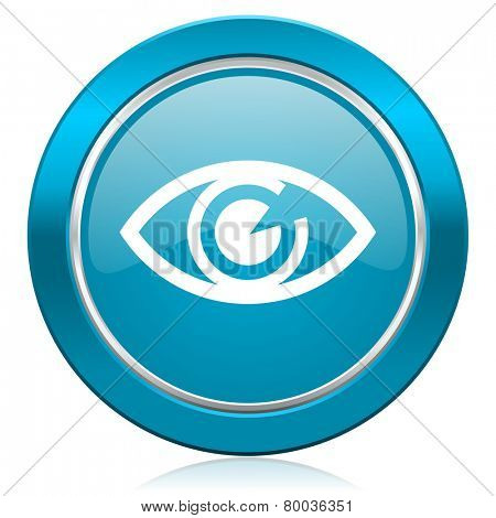 eye blue icon view sign