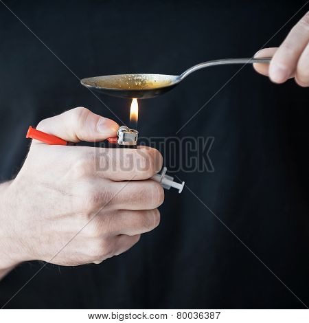 Man Boiling Heroin.