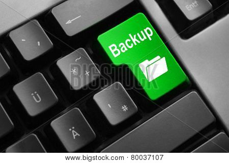 dark grey keyboard green button digital backup folder poster