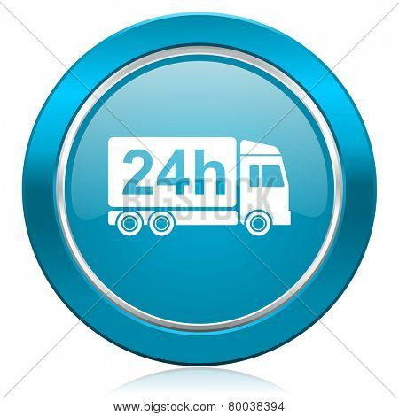 delivery blue icon 24h shipping sign