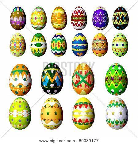 Set Easter Eggs Isolated On White