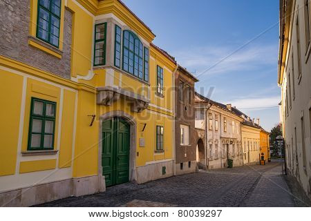 Old Street View In Szekesfehervar Old Town, Hungary.