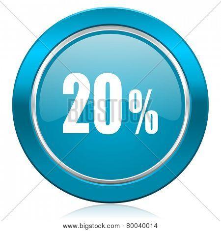 20 percent blue icon sale sign