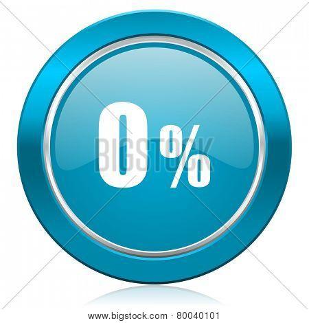 0 percent blue icon sale sign
