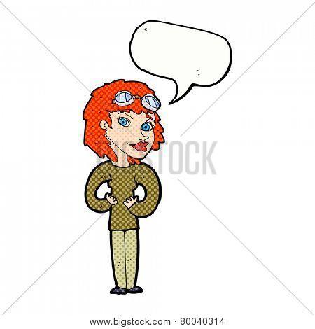 cartoon aviator woman with speech bubble